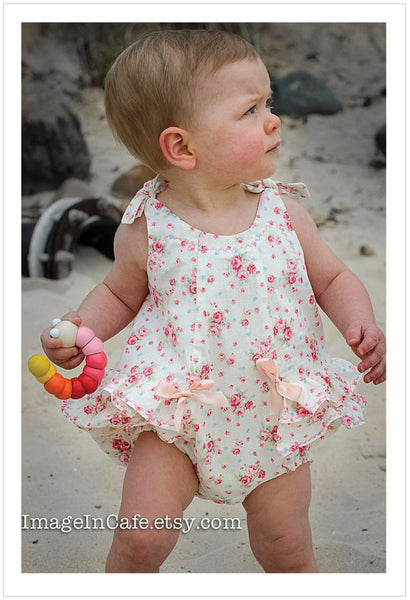 Romper sewing pattern ROSEBUD Romper baby sizes 3 months to 3 years. - Felicity Sewing Patterns