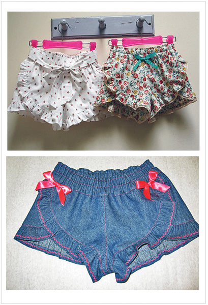 Loveliest ruffled summer shorts sewing pattern for girls by Felicity Patterns