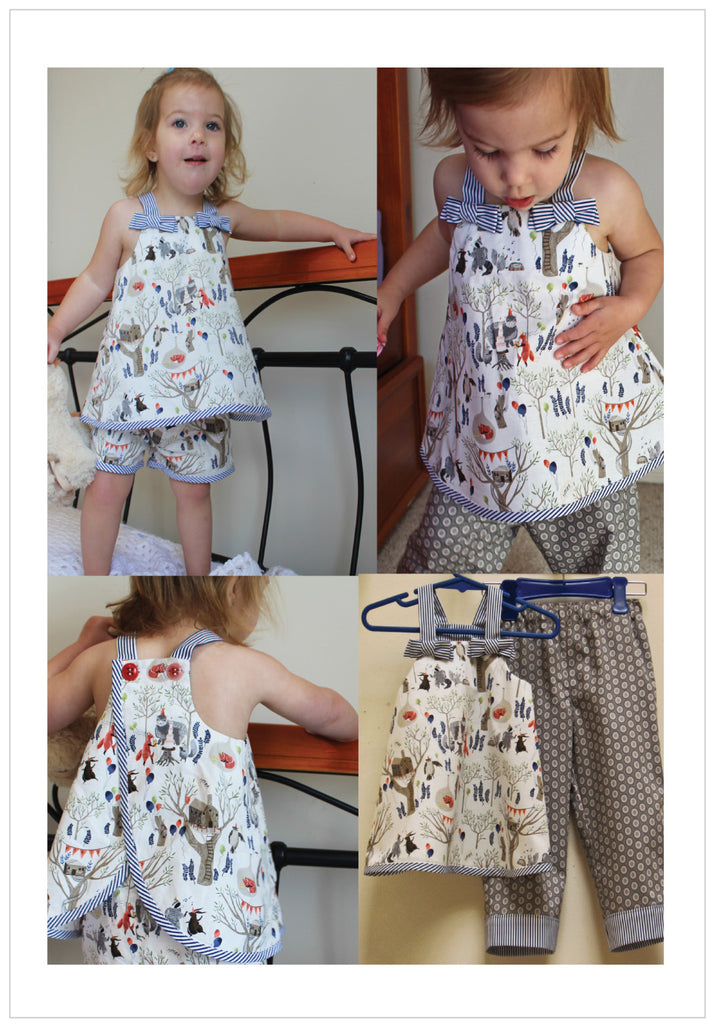 Baby & toddler pdf sewing pattern RUFFLES BABY TOP & PANTS sizes 3 months to 6 years - Felicity Sewing Patterns
