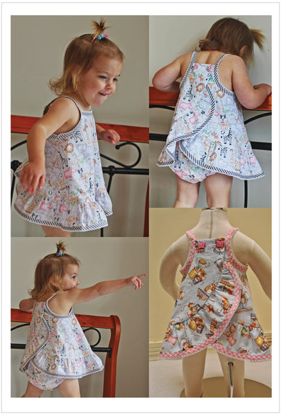 Sewing pattern for baby ruffled dress and pants by Felicity Patterns
