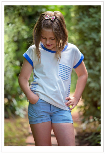 Girls cute summer shorts sewing pattern SANDY BAY SHORTS, sizes 2 to 14 years - Felicity Sewing Patterns