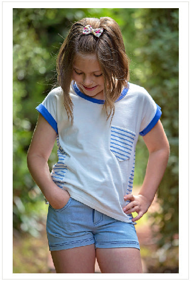 Kids summer T shirt sewing pattern, Sunday T Shirt, girls T shirt pattern sizes 2 to 14 years - Felicity Sewing Patterns