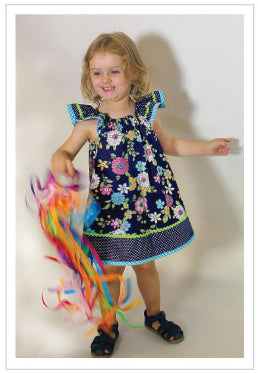 Flutter sleeve dress or top pdf sewing pattern TILLY TOP & DRESS sizes 1-10 years. - Felicity Sewing Patterns