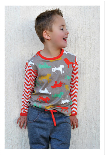 Kids long sleeve loose fit T Shirt sewing pattern by Felicity Patterns