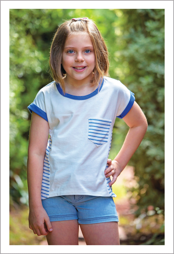 Fun kid's summer T shirt sewing pattern, Sunday T Shirt, girls T shirt pattern sizes 2 to 14 years - Felicity Sewing Patterns