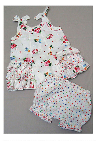 Dress & matching pants toddler sewing pattern SUNNY DRESS & BLOOMERS Sizes 6 months to 6 years - Felicity Sewing Patterns
