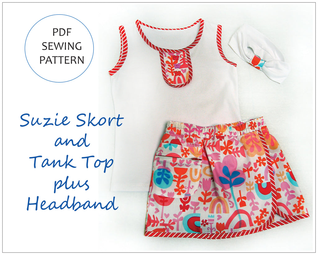 Girls skort/shorts SUZIE SKORT pdf sewing pattern sizes 2 to 14 years, 2 overskirt styles - Felicity Sewing Patterns