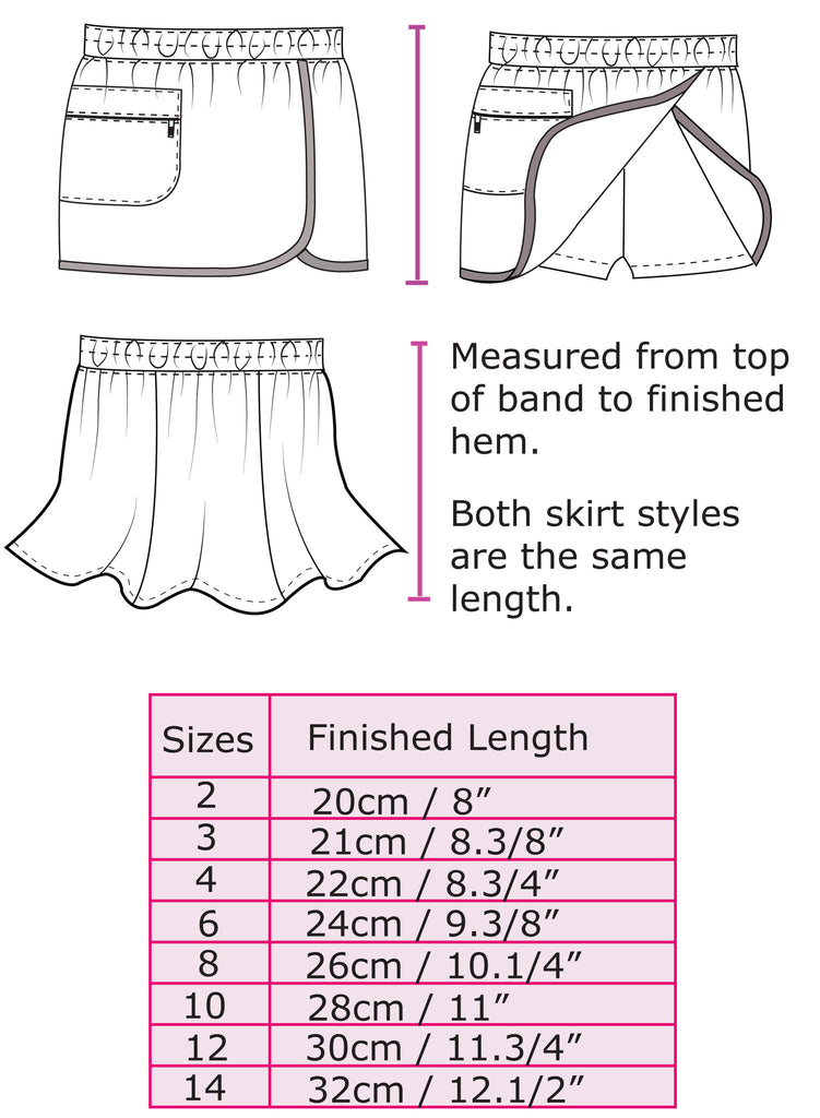 Suzie Skort pdf sewing pattern for girls skort/shorts sizes 2 to 14 years, 2 overskirt styles - Felicity Sewing Patterns
