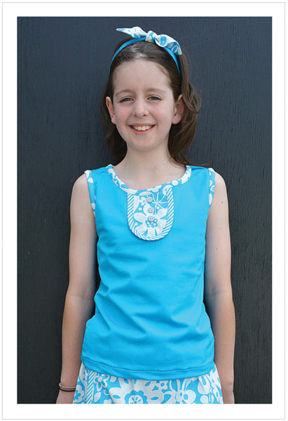 Suzie Tank Top sizes 2-14 years sewing pattern for singlet top + headband - Felicity Sewing Patterns