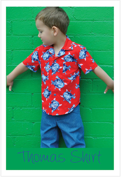 THOMAS SHIRT casual shirt for boys & girls 2-14 years. Hawaiian shirt pdf sewing pattern. - Felicity Sewing Patterns