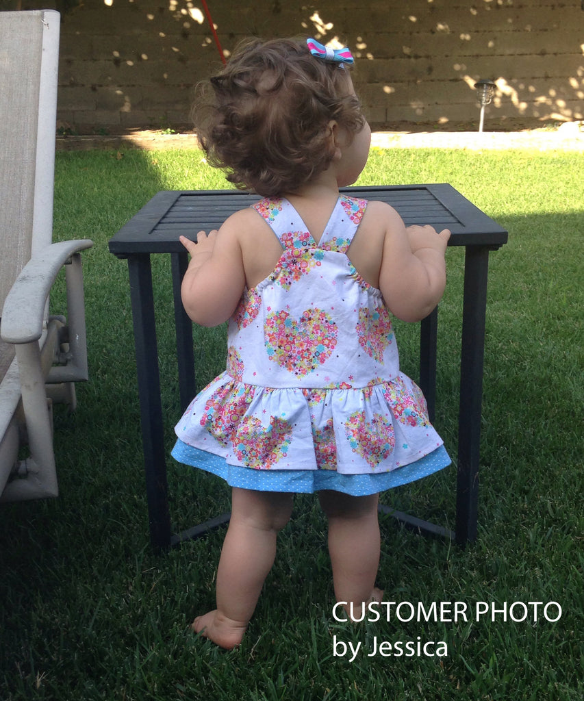 Baby girl romper pdf sewing pattern TINKERBELLE ROMPER sizes 3 months to 3 years. - Felicity Sewing Patterns