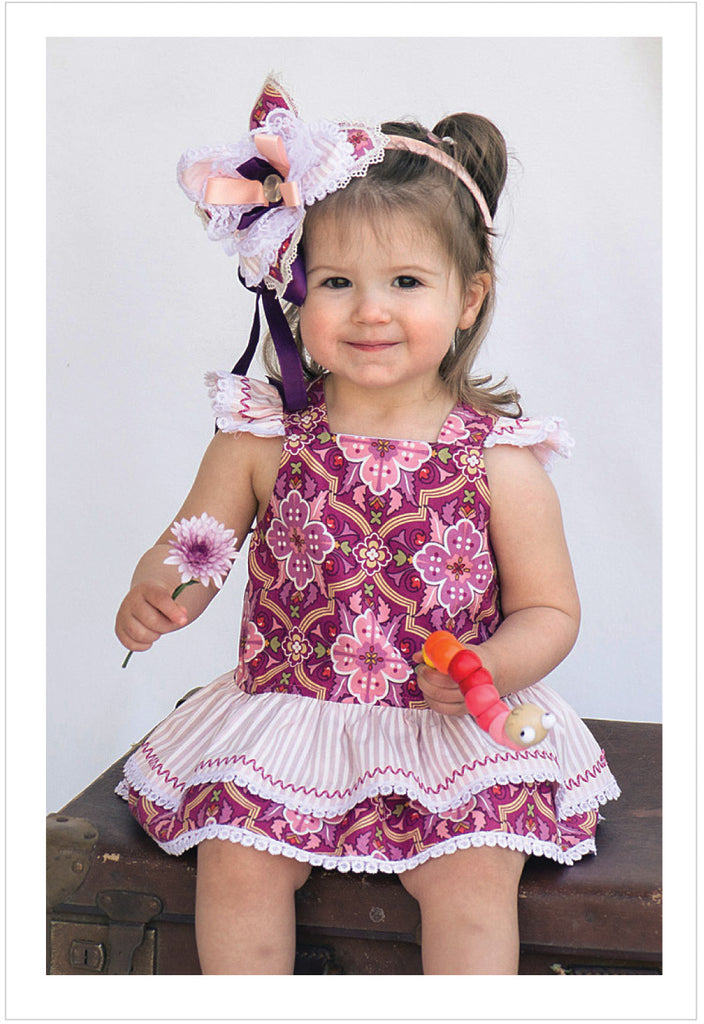 Romper sewing pattern, baby & toddler romper TINKERBELLE ROMPER  sizes 3 months to 3 years. - Felicity Sewing Patterns