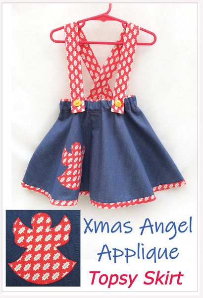 Flared skirt TOPSY TWIRLY SKIRT pdf sewing pattern with XMAS ANGEL applique sizes 1-12 years. - Felicity Sewing Patterns