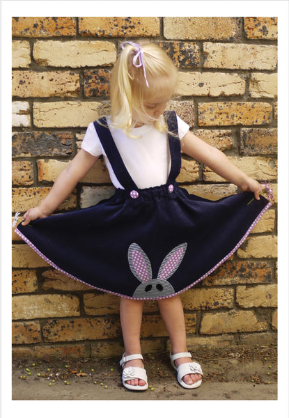 Flared skirt TOPSY TWIRLY SKIRT pdf sewing pattern with rabbit applique sizes 1-12 years. - Felicity Sewing Patterns