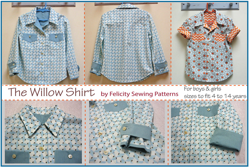 The WILLOW SHIRT for Boys & Girls sizes 4 to 14 years pdf sewing pattern