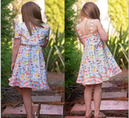 Carousel Sundress & Topper, girls dress and bolero sewing pattern sizes 3-10 years. - Felicity Sewing Patterns