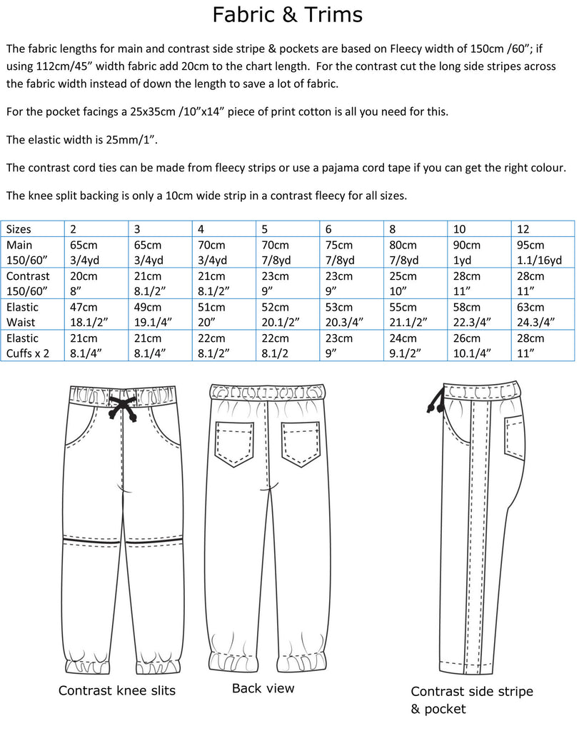 Fabric chart for Roscoe Pants kids track pants pattern