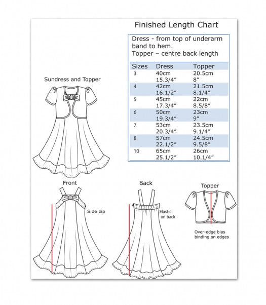 Sketches; The Carousel Sundress & Topper, girls dress and bolero sewing pattern by Felicity Patterns