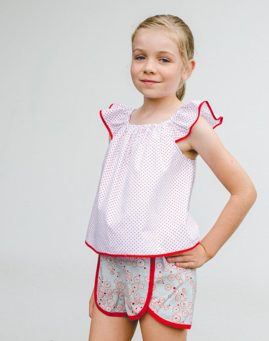 Girls flutter sleeve top or dress pdf sewing pattern TILLY TOP & DRESS sizes 1-10 years. - Felicity Sewing Patterns