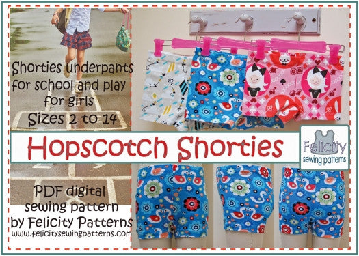 Hopscotch Shorties  girls shortie underpants sizes 2 to 14 years by Felicity Sewing Patterns - Felicity Sewing Patterns