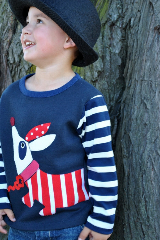 Children's sewing pattern HOT DOGGIE long sleeved T shirt boy & girl sizes 1-6 years - Felicity Sewing Patterns