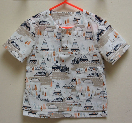 Kieran Shirt, Boys PDF Sewing Pattern in printed woven fabric