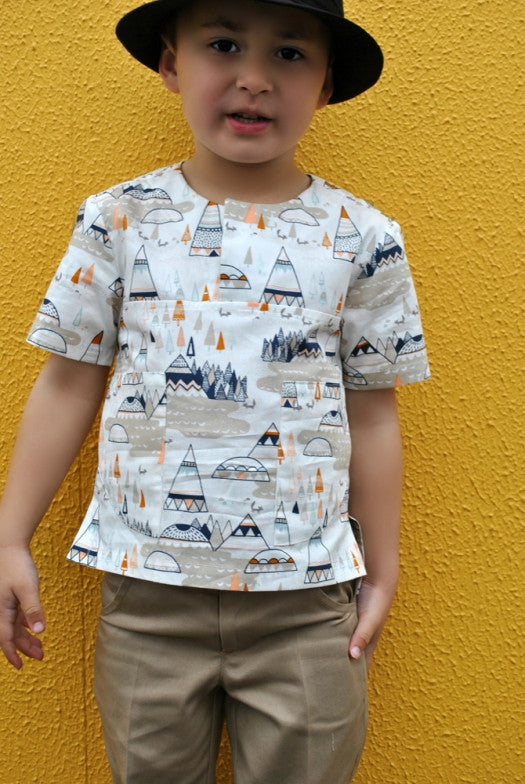Kieran Shirt boys PDF sewing pattern  casual summer shirt sewing pattern.