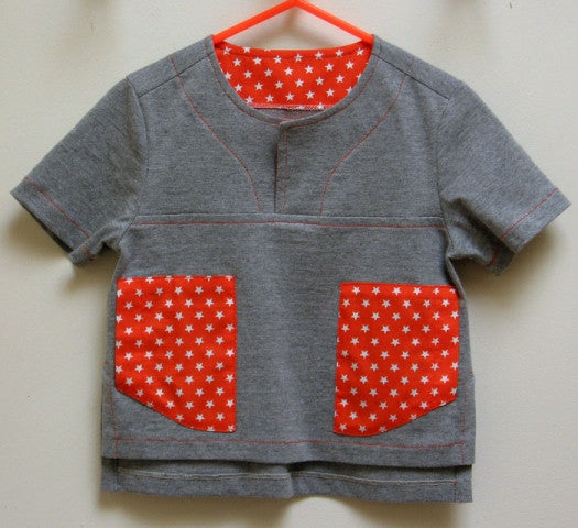 Kieran Shirt, Boys PDF Sewing Pattern in minimal stretch knit fabric with contrast