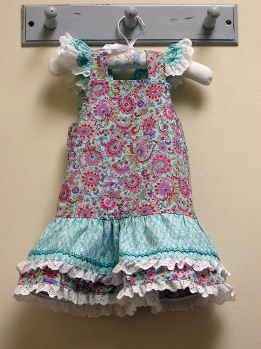 girls dress pdf sewing pattern for ruffled version of Lucy Lou dress