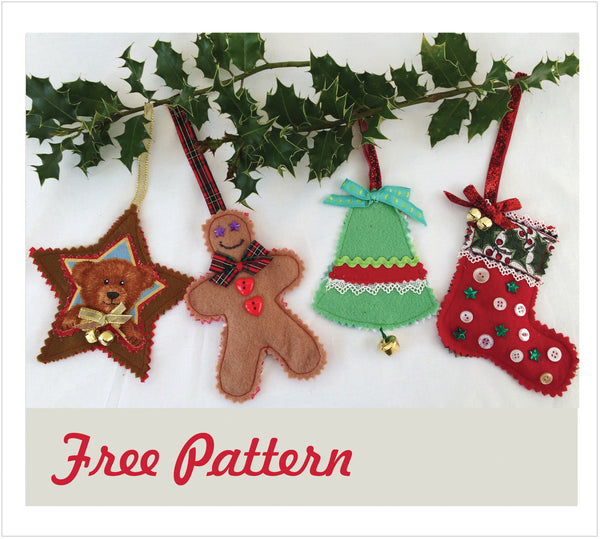 FREE PATTERN DOWNLOAD for Christmas Tree Decorations in 4 designs. - Felicity Sewing Patterns