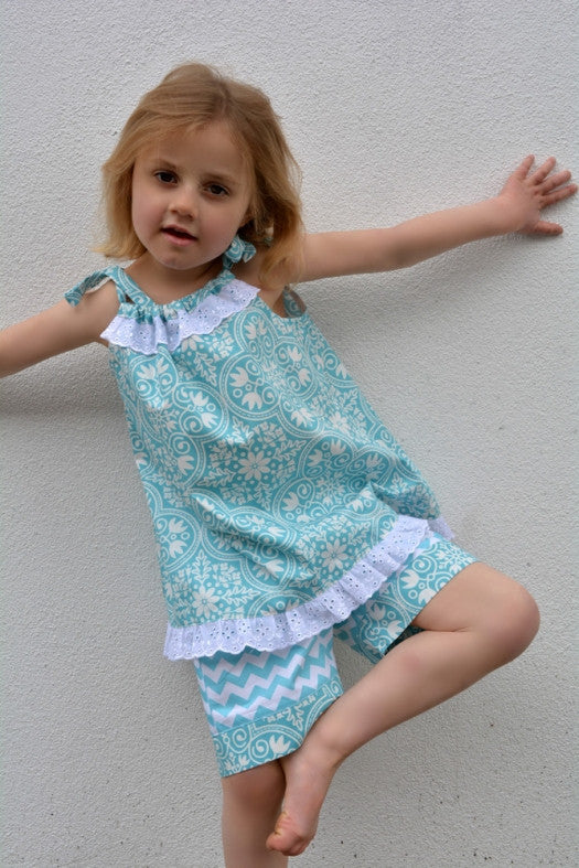 Childs dress & romper sewing pattern Peachy Dress & Playsuit sizes 2-14 years - Felicity Sewing Patterns