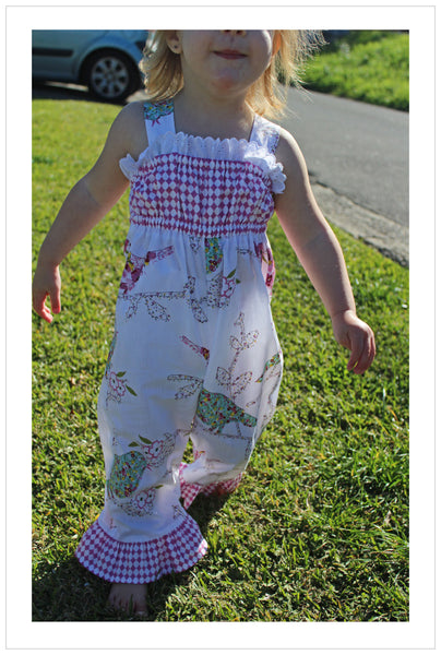 Baby & toddler girls sewing pattern PLAYGROUND ROMPER sizes 3 months to 6 years.