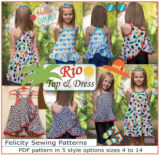 pdf sewing pattern for girls summer top or dress Felicity Sewing Patterns
