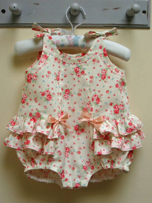Frilly baby romper pdf sewing pattern ROSEBUD Romper baby sizes 3 months to 3 years. - Felicity Sewing Patterns