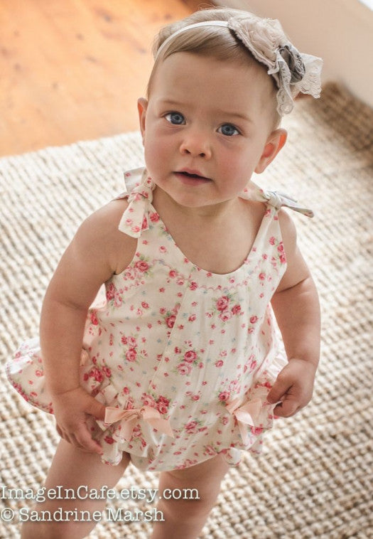 Ruffled baby romper sewing pattern ROSEBUD Romper baby sizes 3 months to 3 years. - Felicity Sewing Patterns