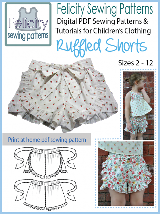 Ruffled Shorts pdf sewing pattern for girls 2 - 12 years.