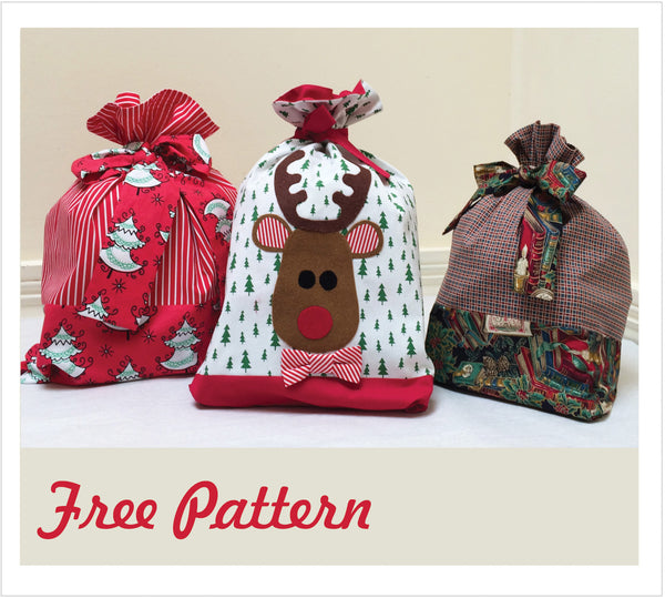 FREE PATTERN download -- Santa Sacks & Rudolph Applique - Felicity Sewing Patterns