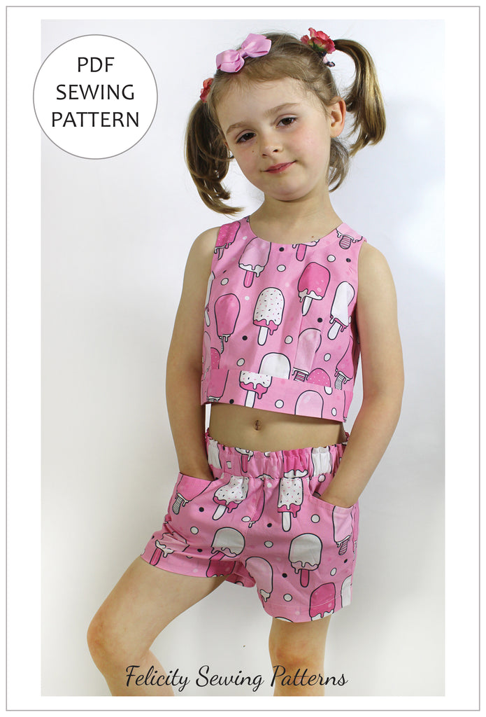 A cute girls summer top, shorts, skirt pdf sewing pattern, GELATO TOP & SHORTS sizes 2-10 years - Felicity Sewing Patterns