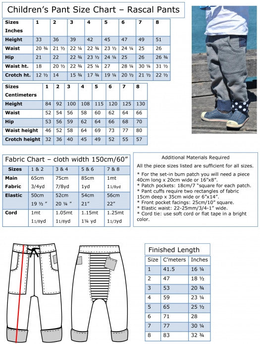 Fabric charts Rascal Pants pdf sewing pattern for boys fleece pants