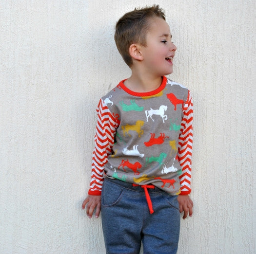 Childs T shirt sewing pattern DUDLEY T SHIRT + Bunny applique, boys & girls sizes 9 mths - 12 yrs - Felicity Sewing Patterns
