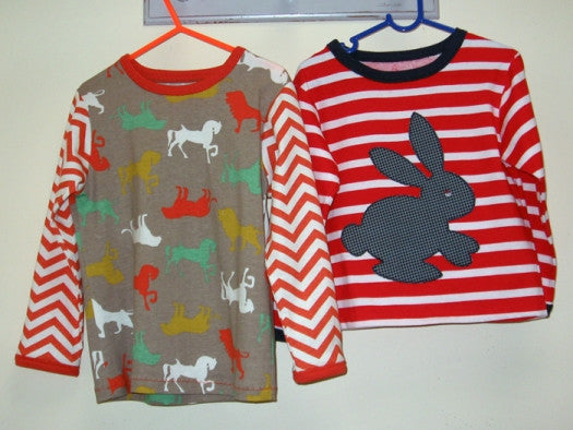 Kids T shirt sewing pattern SLOPPY JOE + Bunny applique, boys & girls sizes 9 mths - 12 yrs