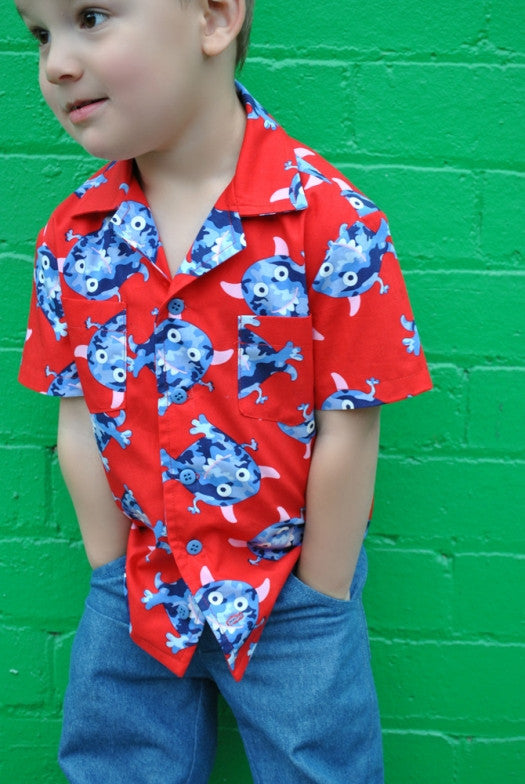 Boys casual shirt sewing pattern THOMAS SHIRT boys & girls 2-14 years. Hawaiian shirt sewing pattern. - Felicity Sewing Patterns