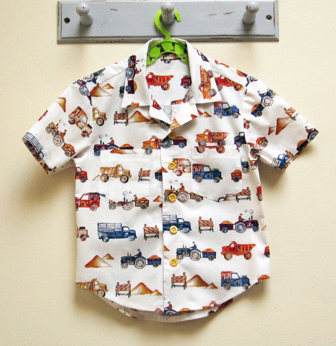 The Thomas Shirt --- Casual shirt for boys and girls 2 to 14 years old. Hawaiian shirt pattern.