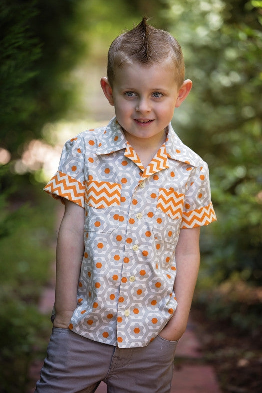 The WILLOW SHIRT for Boys & Girls pdf sewing pattern - short sleeve version