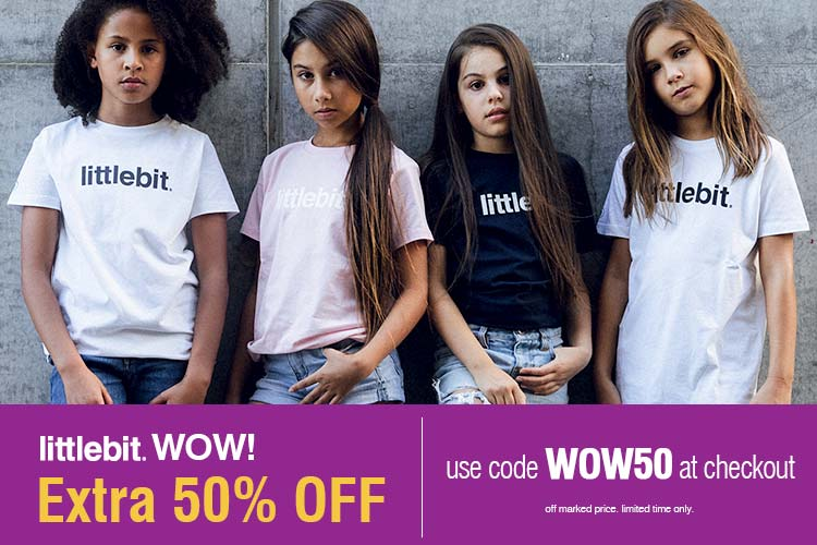 littlbit Sale Girls, boy, baby, womens, mens tees and caps - Use code WOW50 at checkout