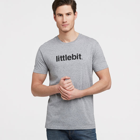 littlebit Mens Logo T-Shirt in Grey Marle