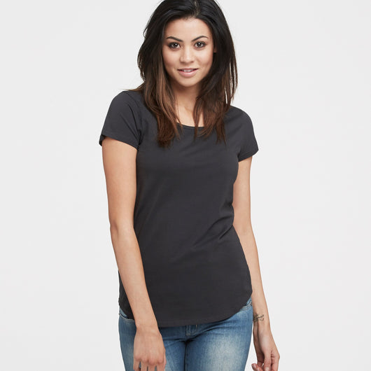 littlebit Womens Scoop Neck T-Shirt in washed black