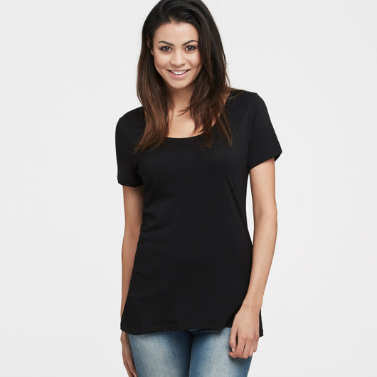 littlebit Womens Deep Scoop Neck T-Shirt in black