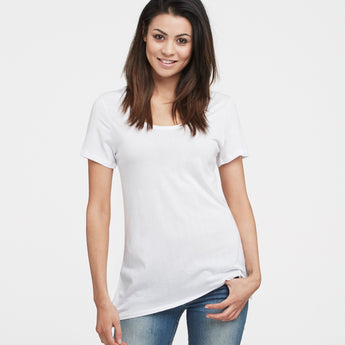 littlebit Womens Deep Scoop Neck T-Shirt in white