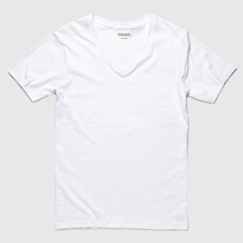 littlebit Basic White V-Neck T-Shirt in White